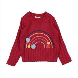 Billieblush Pom Pom Rainbow Sweater